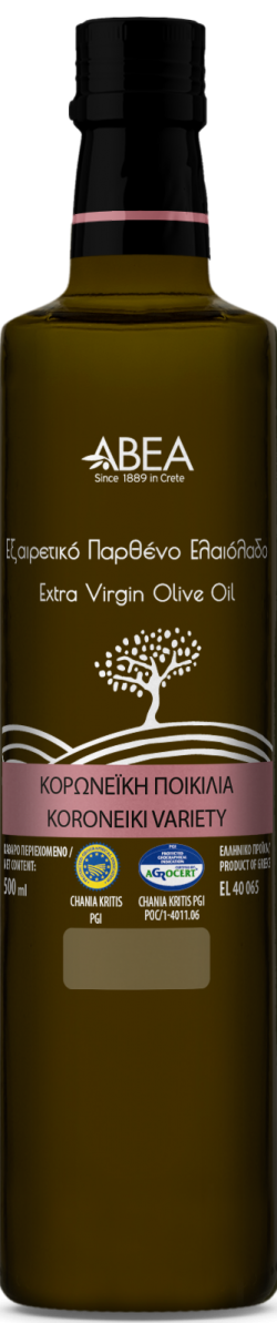 ABEA Koroneiki Monovarietal Extra Virgin Olive Oil- 500ml Dorica Glass Bottle