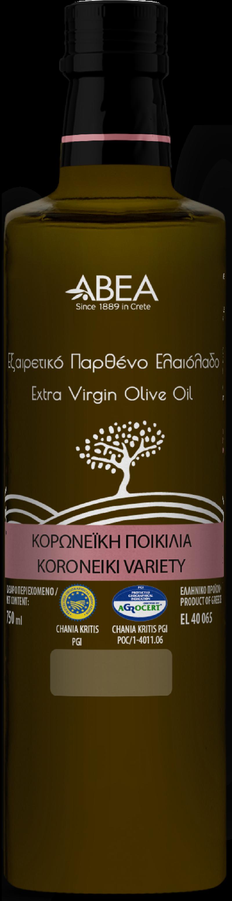 ABEA Koroneiki Monovarietal Extra Virgin Olive Oil- 750ml Dorica Glass Bottle