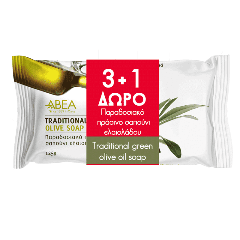 ABEA Παραδοσιακό Πράσινο Σαπούνι Ελαιολάου 125gr  3+1 Δώρο