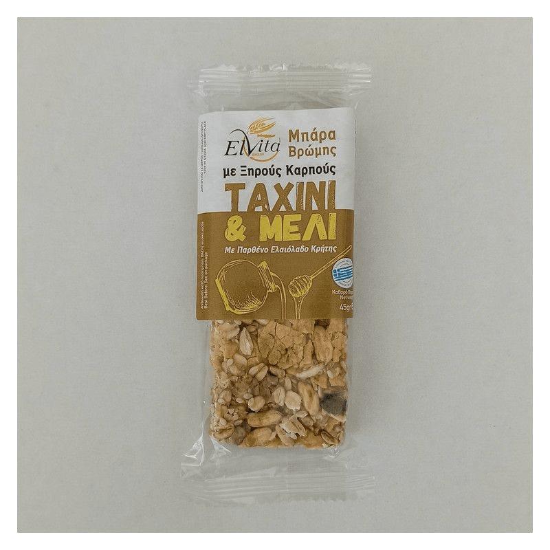 Elvita oat bars with dried nuts, tahini and honey 45gr